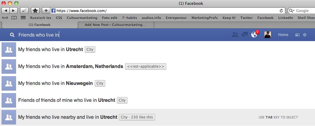 Facebook graphsearch voor promotie